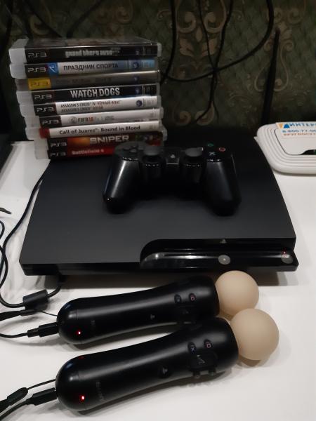 Продам приставку Плейстешен 3. Есть диски к ней(9шт) видеокамера, контролер движения. Цена дог. сост