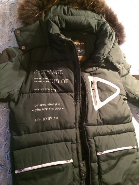 Зимний пуховик на мальчика фирмы «STEEN AGE» на рост 158см со светоотражающими вставками, в о/с, кач